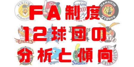 2018年 プロ野球 12球団 FA補強 分析 獲得割合 チーム別 傾向