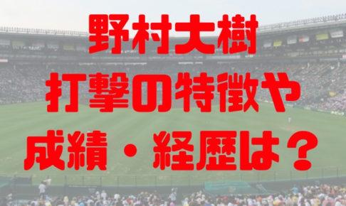 2018年 ドラフト 早稲田実業 野村大樹 プロ志望届提出 成績 経歴 特徴