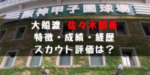 2019年 ドラフト 大船渡 佐々木朗希 大谷級 怪物 成績 経歴 特徴