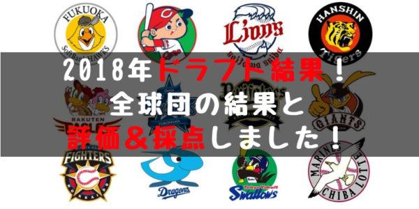 【ドラフト2018】全指名選手の結果まとめ!全球団の採点&評価しちゃいます!