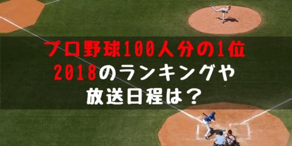 【プロ野球100人分の1位 2018】各部門 ランキング 放送日程 ご紹介 S-PARK