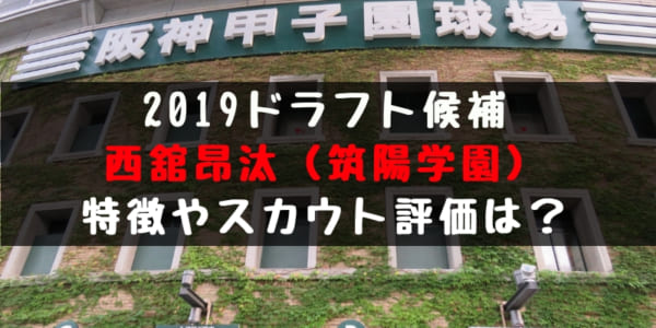 ドラフト2019候補 西舘昂汰(筑陽学園)の成績・経歴・特徴は?