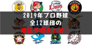 【2019】プロ野球 順位予想まとめ!セパ全12球団のガチ順位予想です!