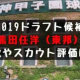 ドラフト2019候補 熊田任洋(東邦)の成績・経歴・特徴は?