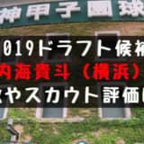 ドラフト2019候補 内海貴斗(横浜)の成績・経歴・特徴は?