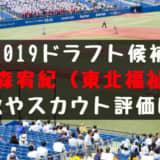 ドラフト2019候補 津森宥紀(東北福祉)の成績・経歴・特徴は?