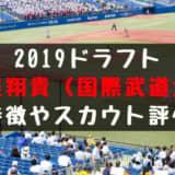 ドラフト2019候補 勝俣翔貴(国際武道大)の成績・経歴・特徴は?