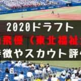 ドラフト2020候補 元山飛優(東北福祉大)の成績・経歴・特徴は?