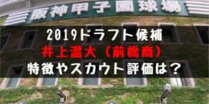 【ドラフト】井上温大(前橋商)の成績・経歴・特徴は?