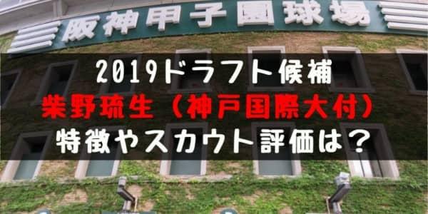 ドラフト2019候補 柴野琉生(神戸国際大付)の成績・経歴・特徴は?