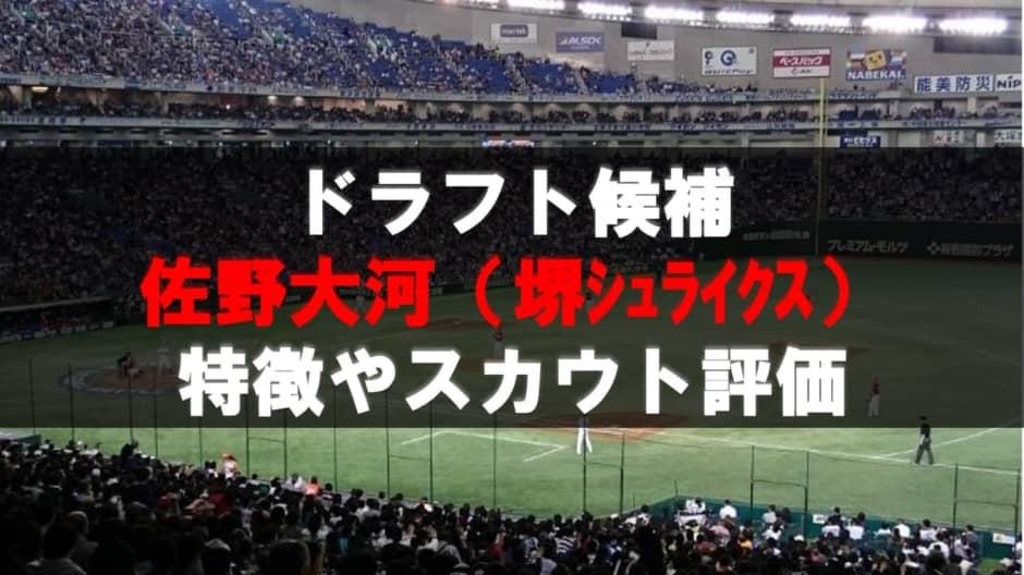 【ドラフト】佐野大河(堺シュライクス)の成績・経歴・特徴
