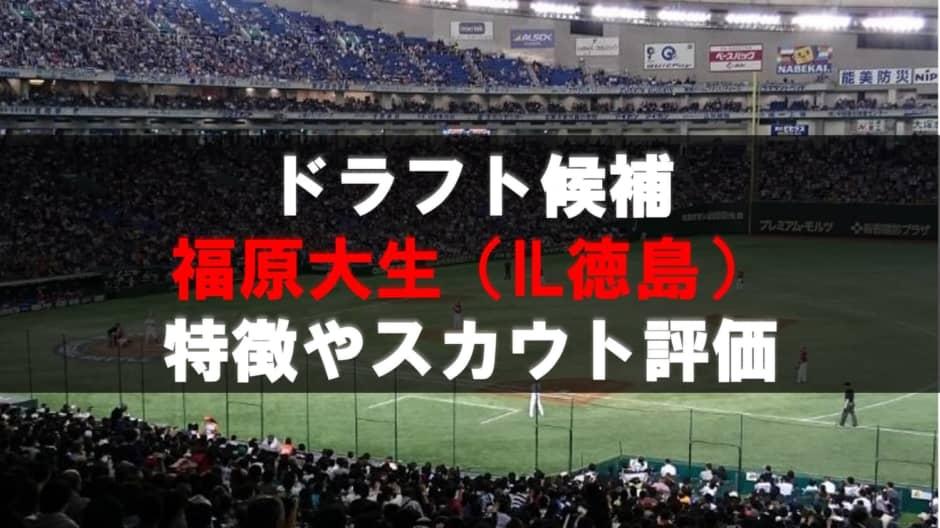 【ドラフト】福原大生(徳島インディゴソックス)の成績・経歴・特徴
