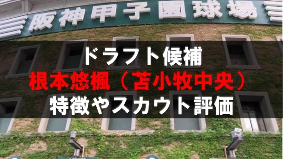 【ドラフト】根本悠楓(苫小牧中央)の成績・経歴・特徴