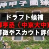 【ドラフト】畔柳亨丞(中京大中京)の成績・経歴・特徴