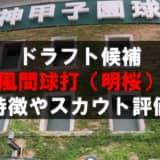 【ドラフト】風間球打(ノースアジア大明桜)の成績・経歴・特徴