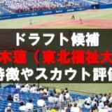 【ドラフト】椋木蓮(東北福祉大)の成績・経歴・特徴